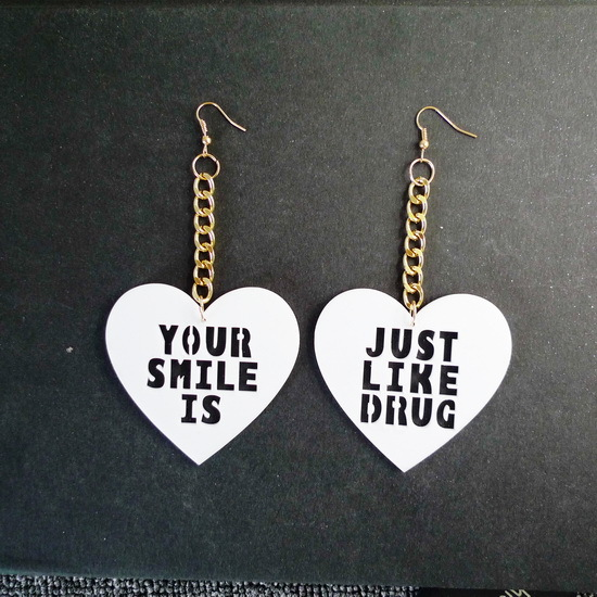 Hip Hop Hallow Out Heart  YOUR Smile is JUST LIKE DRUG Pun Girl Show Earrings