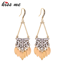 KISS ME Antique Gold Color Vintage Big Earrings for Women Zinc Alloy Crystal Drop Earrings Fashion Jewelry
