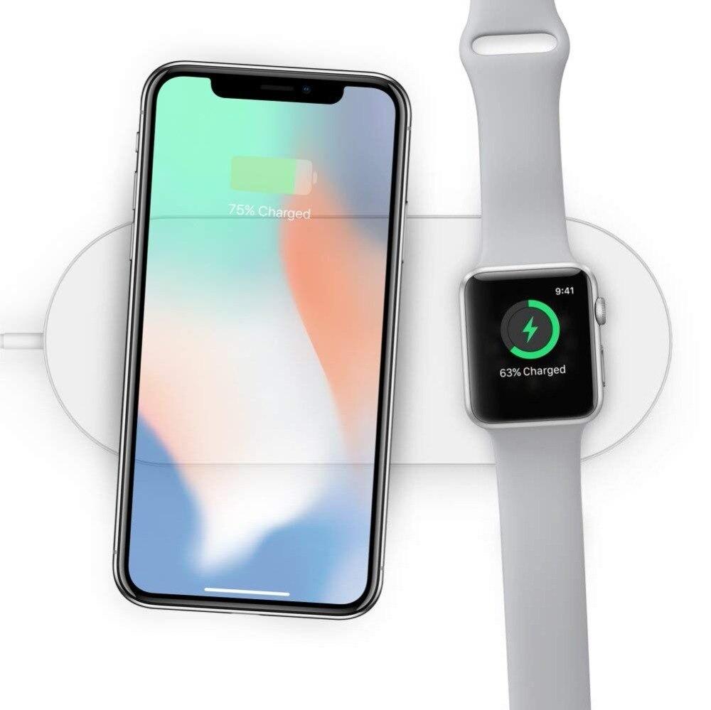 2 en 1 inalámbrico cargador para iWatch 2 3 Qi carga rápida para el iPhone X 8 8 más Sumsang S9 s8 S8P S7 S6 Pad USB adaptador de teléfono