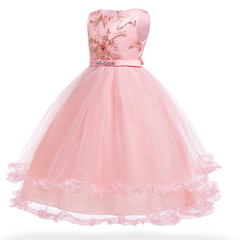 Girl Sleeveless Flower Ball Gown Party Princess Dresses 2018 Summer lace Dress For Girl Birthday Custumes 3-14 Years ems dhl free shipping toddler little girl s 2017 princess ruffles layers sleeveless lace dress summer style suspender