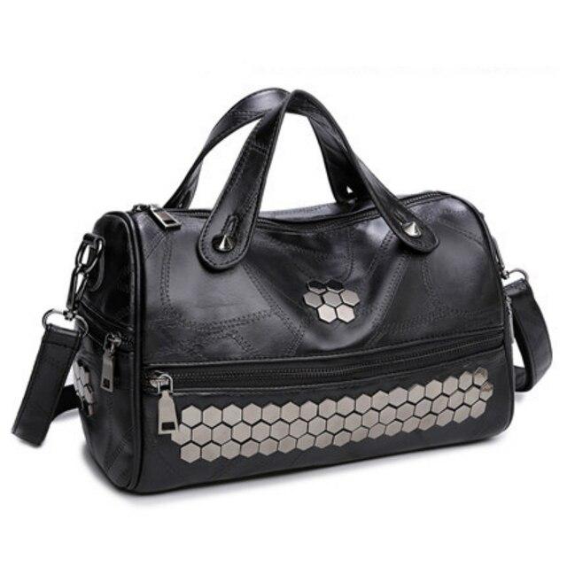 Retro Rivet Top-Handle Bags Women Fashion Vintage Designer Brand Patchwork Shoulder Bag Hip-hop Casual Totes Large Handbag