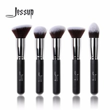 Jessup 5pcs Black/Silver Beauty Kabuki Makeup Brushes Set Foundation Powder Blush brushes  Make up Brush Cosmetics Tools