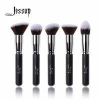 Jessup 5pcs Black Silver Beauty Kabuki Makeup Brushes Set Foundation Powder Blush Brushes Make Up Brush