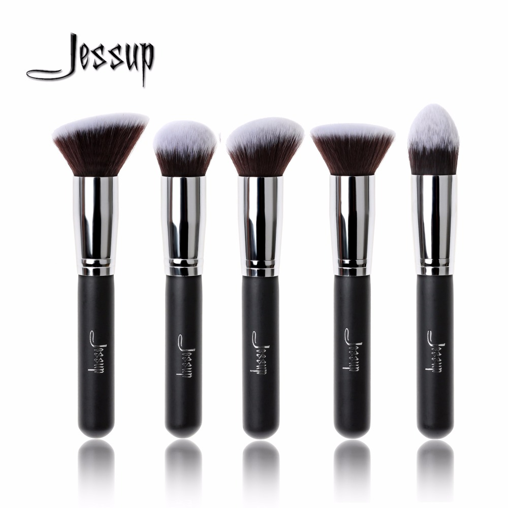 Jessup brushes 5pcs Black/Silver Beauty Kabuki Makeup Brushes Set Foundation Powder Blush Makeup Brush Cosmetics Tools T063 2017 jessup brushes 5pcs black silver beauty kabuki makeup brushes set foundation powder blush makeup brush cosmetics tools t063