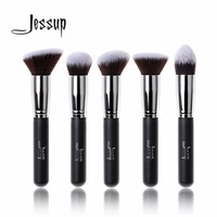 Jessup 5pcs Black Silver Beauty Kabuki Makeup Brushes Set Foundation Powder Blush Brushes Make Up Brush