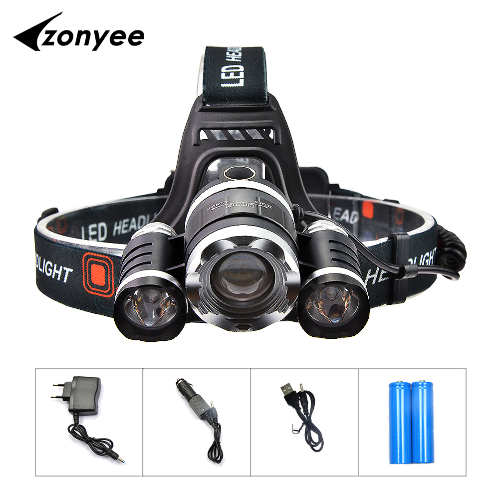 Zonyee LED Headlight XM-L 3T6 LED Head Light Lamp 10000Lumen 4 Modes Zoom Headlamp Lantern Hunting Head Flashlight With Battery Zonyee LED Headlight XM-L 3T6 LED Head Light Lamp 10000Lumen 4 Modes Zoom Headlamp Lantern Hunting Head Flashlight With Battery