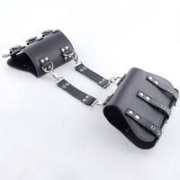 New Wrist Cuffs Bondage Restraints Black PU Leather Back Bondage Hand Cuffs Arm Binder Long Glove Sex Prdoucts For Adults Games