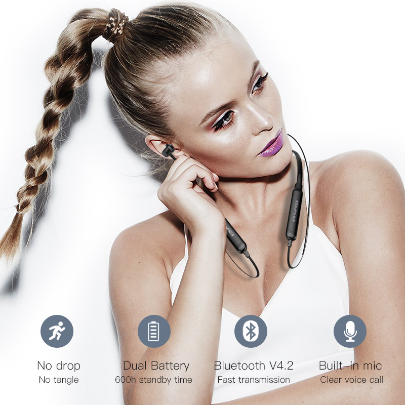 AWEI G20BLS Wireless Earphones Neckband Bluetooth headphone Headset Earpiece 220mAh Battery Capacity Earphone Casque Auriculares 5