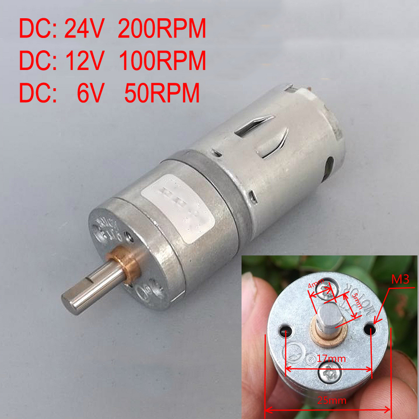 Double Flat Shaft All Metal 25mm Dc 12v 100rpm 370dc Gear