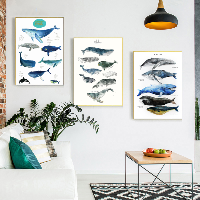 Whales Of The World Fish Minimalist Watercolor Art Canvas Poster Painting Wall Picture Print Home Bedroom Decoration Framework