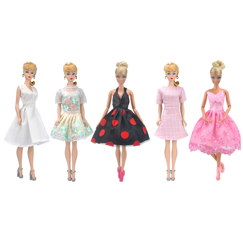 Fashion Retro Dress Outfits For  Barbie Doll Clothes Accessories Play House Dressing Up Costume Kids Toys Gift