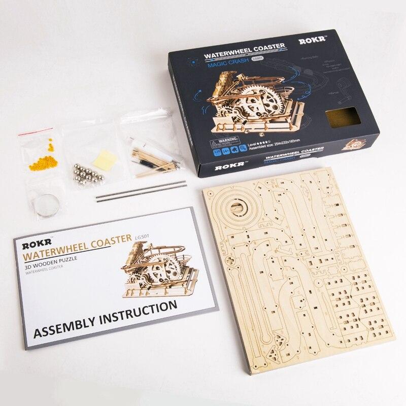 Robotime 4 sortes bricolage marbre course jeu découpe Laser 3D en bois Puzzle jeu assemblage jouet cadeau pour enfants adulte LG501 - 5