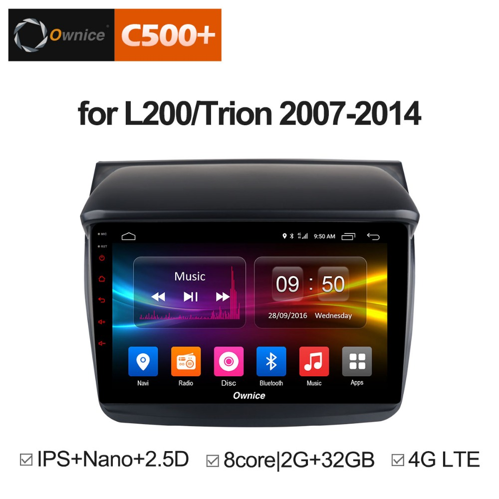 Ownice C500 + G10 Android 8.1 Audio De Voiture POUR MITSUBISHI L200 Trion 2007-2014 dvd gps lecteur de navigation tête unité 8 Core 32g ROM