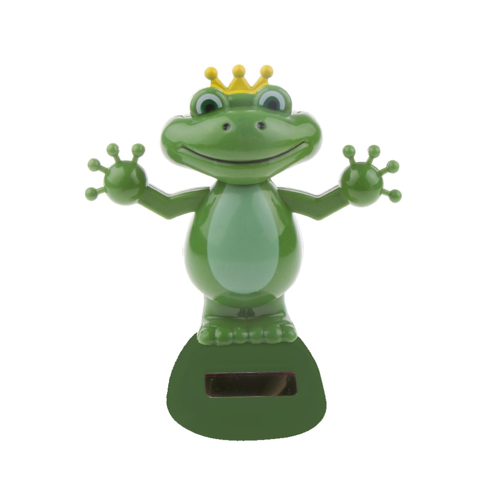 Hot Sale Solar Power Dancing Frog Doll Car Interior Ornament Home Decoration Birthday Gift for Kid Children Adults Collectible