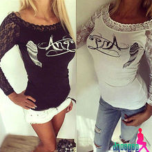 New Womens Ladies Long Sleeve Slim Lace T Shirt Casual T
