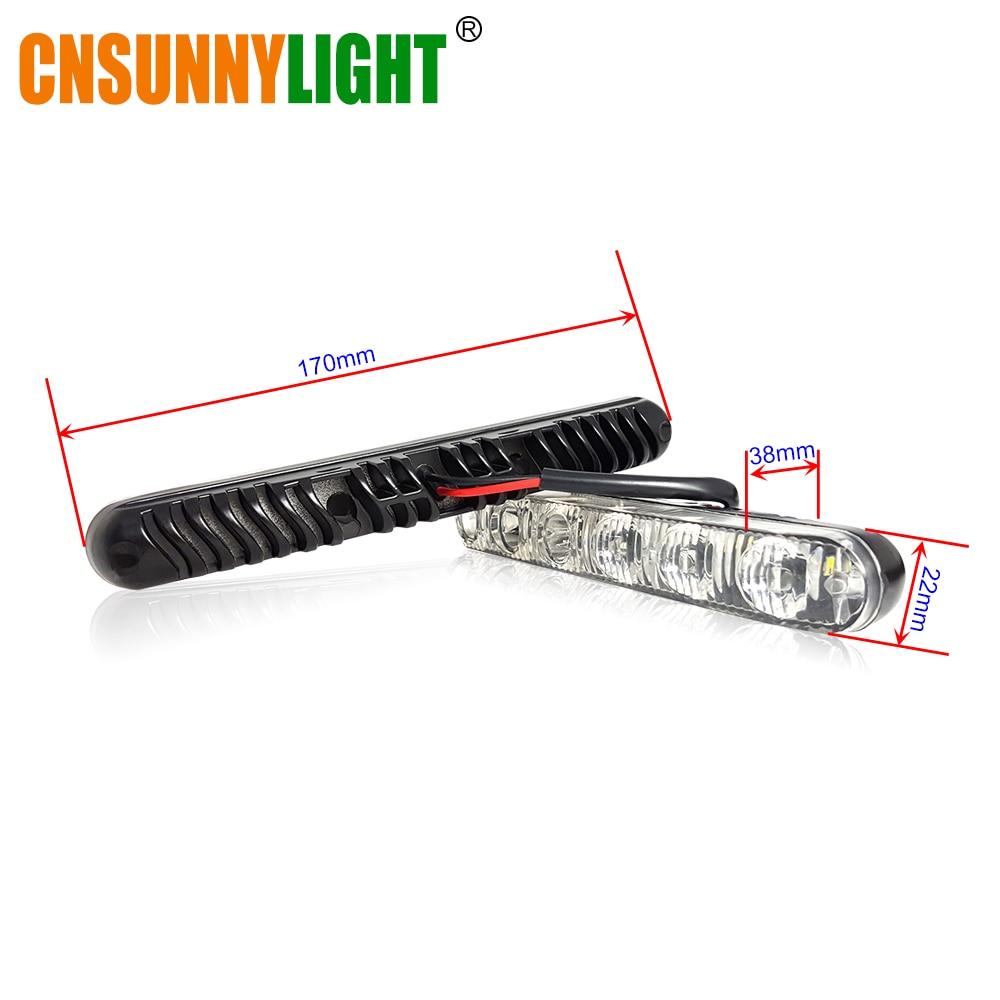 CNSUNNYLIGT LED Daytime Running Light Waterproof Universal DRL Kit Led Auto Driving Work Light External Fog Lamp 6000K 12V (2)