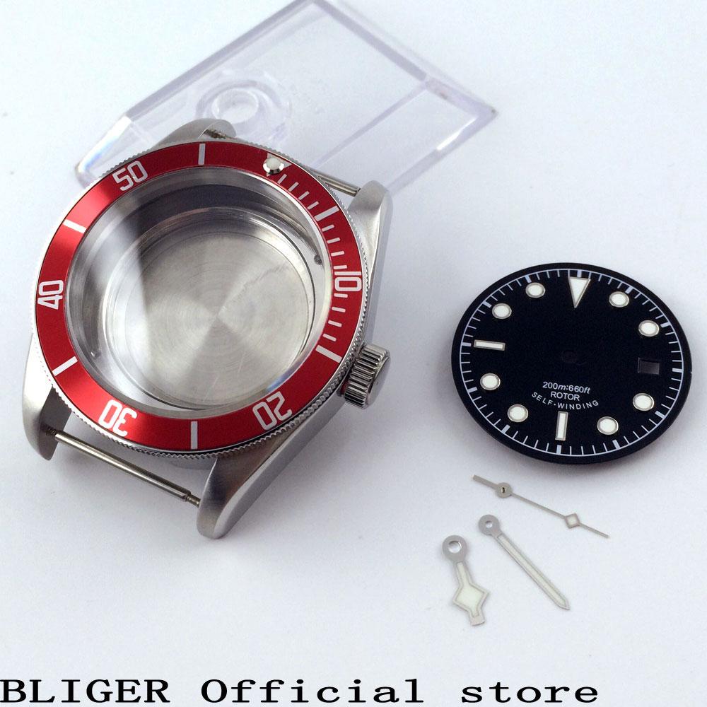цена Bliger 41mm a set sapphire glass red rotating bezel luminous watch case+watch dial+hands fit ETA 2824 2836 movement CA61A