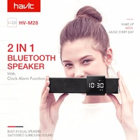 HAVIT Portable Bluetooth Speaker Subwoofer LED Time Display Clock Alarm Wireless Speaker with Microphone for Phone Call M28
