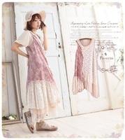 2015 New Mori Girl Cotton Design Japanese Style Women S Lace Patchwork Vintage Decorative Pattern Sleeveless