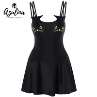 AZULINA Plus Size Kitten Embroidery One Piece Dress Women Casual Beach Backless High Waisted Dresses Ladies