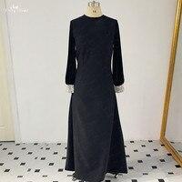 RSE889 мусульманских женское вечернее платье матовый стрейч атласа с бархатной Пышный рукав Длинные Черное вечернее платье