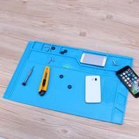 550x350mm Magnetic Heat Insulation Pad Mobile Phone Repair Platform Thickening Silicone Cell Phone Maintenance Mat