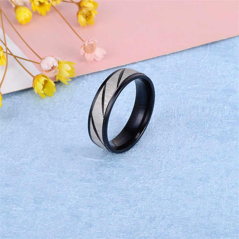 Anillos de plata de acero titanio de moda para hombres anillo negro para mujeres anillos de boda de sarga de oro para hombres anillo de dedo azul joyería de mujer