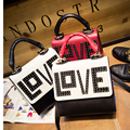 Fahsion Rivet  Love Letter Brand Women Handbags Top-handle Women Bag candy Color Leather Shoulder Bags Patchwork Messenger Bags