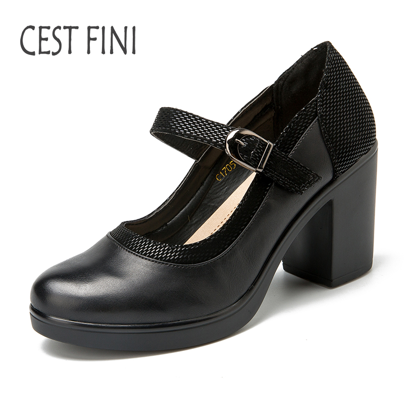 CESTFINI Mary Janes Women Pumps Fashion High Heel Platform Shoes Ladies Shoes High Heel Black Leather Shoes Size 36-40 #P007