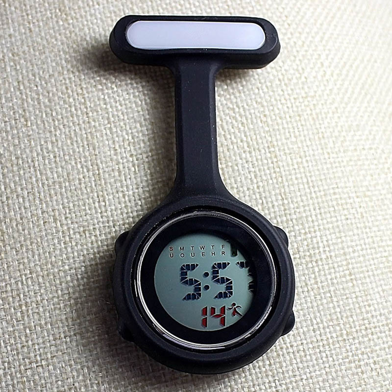 New Digital Nurse Watch Fashion Silicone Medical Watches Lapel Doctor Brooch Pocket Watch TT@88 notch lapel faux flap pocket texture cardigan