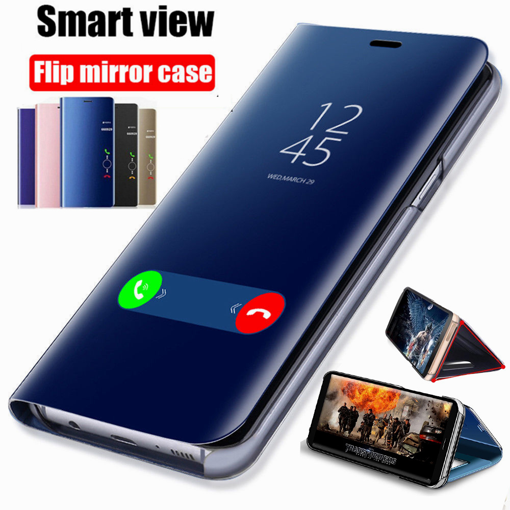 For <font><b>Samsung</b></font> Galaxy S8 S9 Plus S10 S10e <font><b>case</b></font> Smart View Mirror <font><b>Flip</b></font> Stand Cover For S6 S7 edge <font><b>Note</b></font> <font><b>4</b></font> 5 8 9 PU Leather Coque image