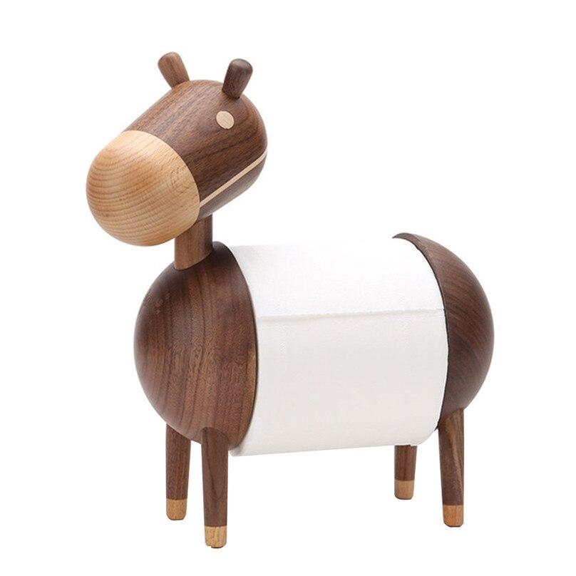Kreatywny prezent domu z drewna litego Papier kuchenny przechowywania uchwyt rolka papieru toaletowego uchwyt Cartoon mały osioł drewniane ozdoby #4A23 w Uchwyty i stojaki od Dom i ogród na  Grupa 1