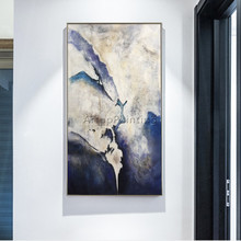 Canvas Oil Painting Nordic Navy Blue Abstract Acrylic Home Wall Art