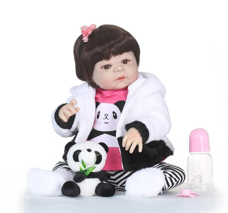 soft silicone reborn babies for sale 57cm vinyl toy for children 22inches with Stuffed animal toys panda birthday Xmas presentsoft silicone reborn babies for sale 57cm vinyl toy for children 22inches with Stuffed animal toys panda birthday Xmas present