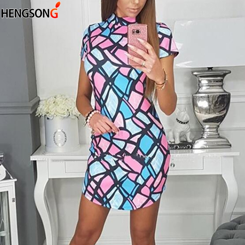 2019 New Women Summer Dress Fashion Bright Colorful Geometric Pattern Print Slim Stretch Short Sleeve Dress
