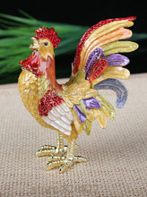 CRYSTAL BEJEWELED ENAMELED HINGED TRINKET BOX -ROOSTER (CHICKEN) CHICKENS GIFTS DISPLAY TRINKET BOX HAND PAINTED