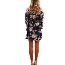 ELSVIOS Sexy Off Shoulder Slash Neck Office Dress 2017 Summer Floral Print Beach Dress Casual Flare Sleeve Women Dress Vestidos
