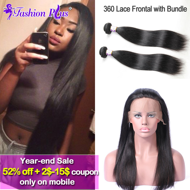 10A 360 Lace Frontal With Bundle Straight Indian Virgin Hair with 360 Lace Virgin Hair Human Hair Full 360 Lace Frontal