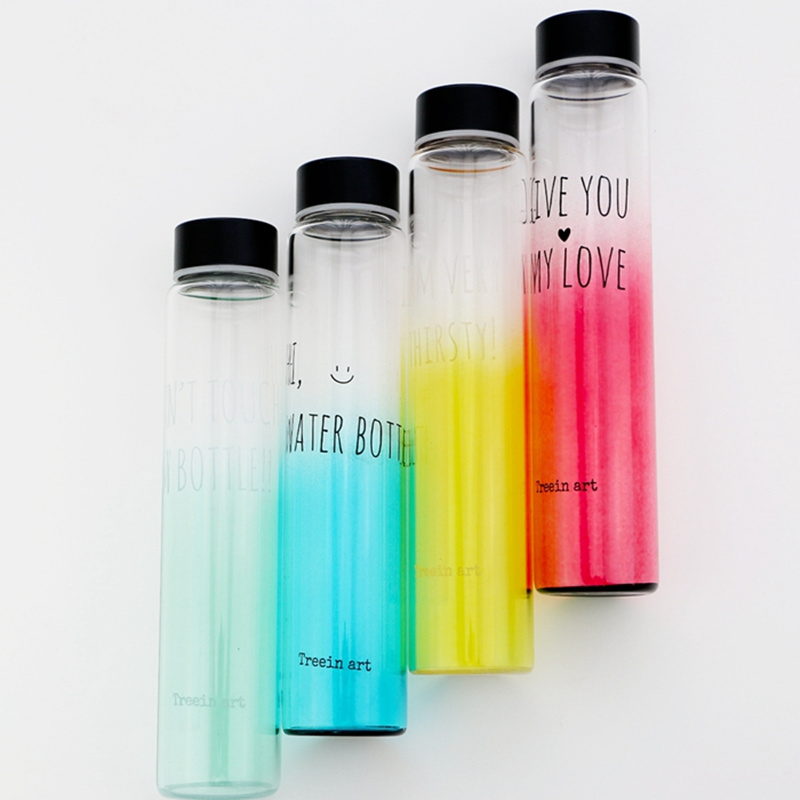4 pcs/Lot Slim water bottle Glass material Novelty color portable bottles  Drinkware for outdoor fun sports caneca household 5206-in Water Bottles  from Home ...