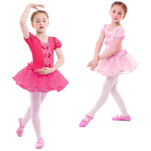 Elegant Kids Girls Ballet Dress Tulle Spliced Leotard Dance Toddler Dancewear Gymnastics Costumes