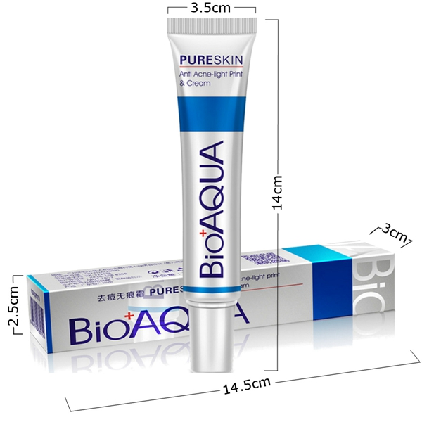 500pcs FREE DHL EMS BIOAQUA Pure Skin Acne Cream Light Print Scar Removal Face Cream Whitening Facial Skin Care
