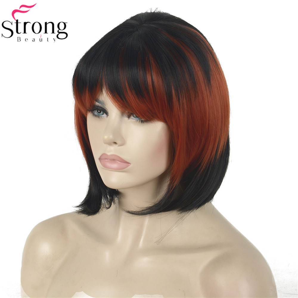 StrongBeauty Cosplay Wig Red/Black Mix Neat Bang Bob Haircut Womens Synthetic Wighaircuts womenwig redwig wig -