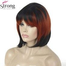 StrongBeauty Peruca Cosplay Vermelho/Preto Mix Puro Estrondo Bob Haircut Peruca Sintética das Mulheres
