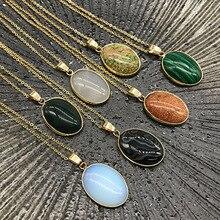 Женские и мужские геометрические овальные ювелирные изделия с камнем по месяцу рождения, ожерелья с натуральными аметистами, бирюзой, малахит, опал, кулоны с камнем кварца