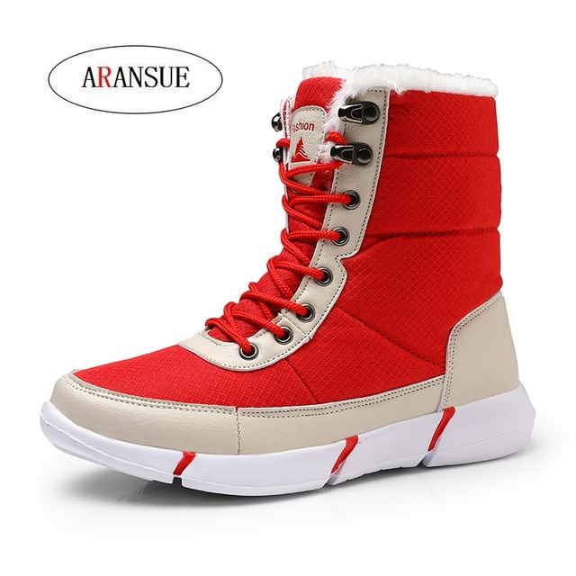 ARANSUE 2018 New winter outdoor hi-top snow boots Waterproof and non-slip warm cotton shoes Large size Martin boots for women