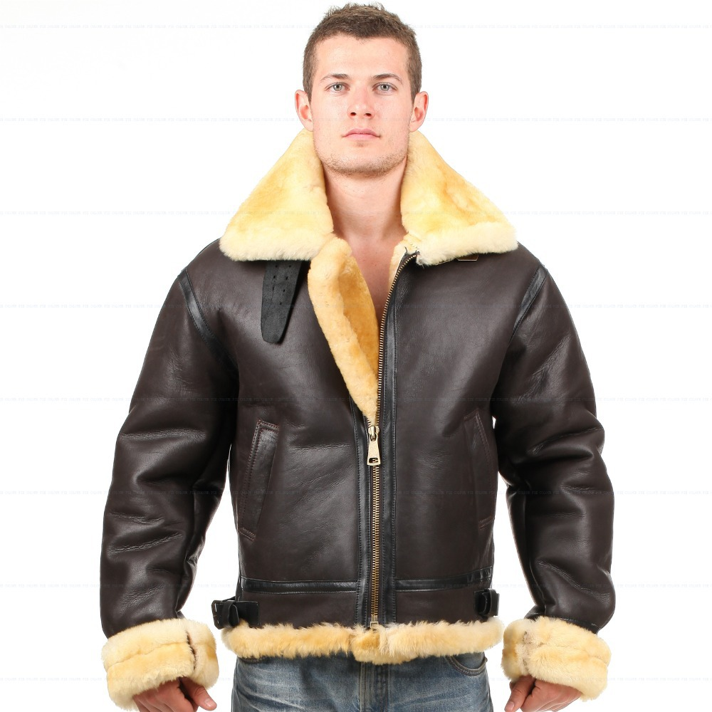 Sheepskin Leather Jacket Men - Coat Nj