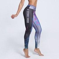 J & L Nuevo Tamaño Más Entrenamiento Leggings Mujeres Graffiti Impreso Carta Moda Casual Pantalones de Las Señoras Elásticos Deportivos Pantalones de Carreras
