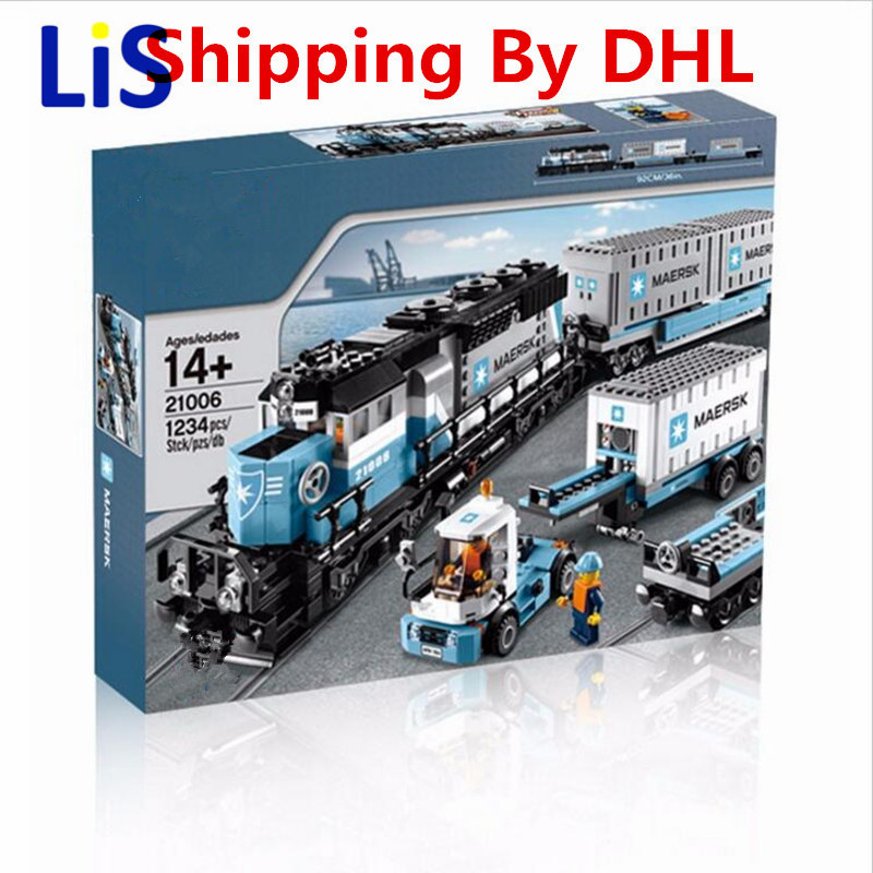 Lis 2017 New LEPIN 21006 1234Pcs Technic Series Maersk Train Model Building Kits Blocks Bricks Compatible Toys Gift 10219 lepin 22001 pirate ship imperial warships model building block briks toys gift 1717pcs compatible legoed 10210