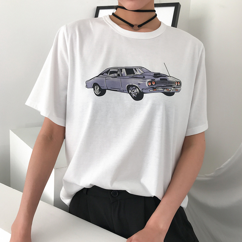 YYXZ Summer Fashion Cute Loose Print Car Short Sleeve Lady Tee SML Thin Fabric O-neck Woman Casual Cotton T-Shirt Streetwear Top