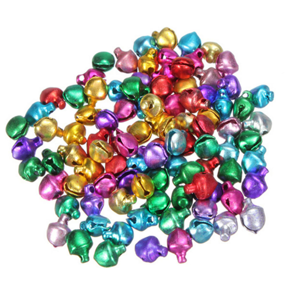 Jingle bell ornaments - 100pcs Christmas Jingle Bells Loose Beads Charms Jewelry Marking Bouquet Bell Christmas Ornament Bell New Year